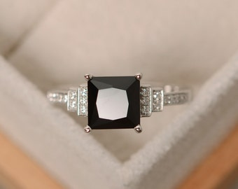 Princes cut, black spinel ring, sterling silver, black ring, gemstone spinel