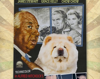 Chow Chow Dog Art Rear Window Vintage Movie Poster Giclee Print  or Gallery wrapped Canvas ready to hang on the wall