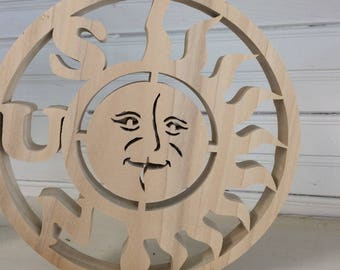 Unfinished Woodcarved Sun