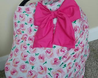 Car seat Cover Nursing cover Shopping Cart Cover 3 in1 stretchy carseat cover with or without Large bow carseat canopy