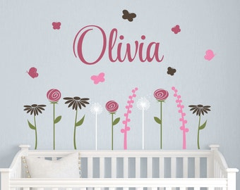 Name Decal with Butterfly Garden Wall Decal Set, Personalized Name Decals, Baby Nursery, Flower Decals, Butterfly Wall Decals