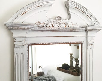 Large Wall Mirror, Baroque Wall Mirror, Distressed Mirror, Living Room Decor, White Wood Shabby Chic Mirror, Ornate Mirror, White Mirror