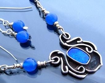 Blue Black Australian Opal Iris flower necklace pendant neon chalcedony in sterling silver earring set OOAK jewelry