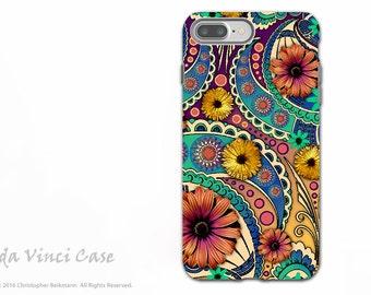 Paisley Daisy Art - iPhone 7 PLUS - 8 PLUS Tough Case - Colorful Floral Dual Layer Apple iPhone 7Plus Case - Petals and Paisley