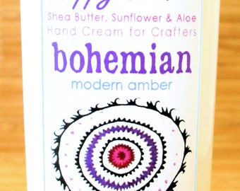 Scented Shea Butter Hand Lotion - Bohemian Modern Amber Fragrance - Hand Cream for Knitters Happy Hands Knitting