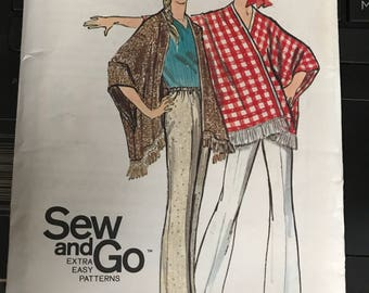 Vintage 70s Butterick 5762 Poncho and Pants Pattern-Size 12 (34-25 1/2-36)