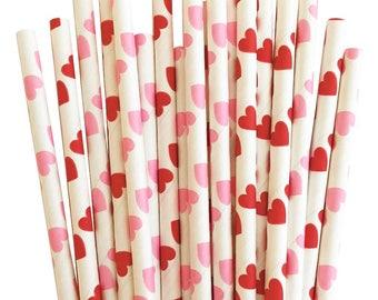 Valentine Straws (25), Pink & Red Hearts Straws, Valentines Day, Party Decor, Wedding Straws