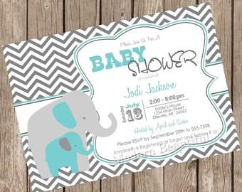 Boy Elephant baby shower invitation, grey, turquoise, chevron, printable invitation ET01