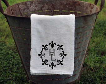 Farmhouse Flour Sack Tea Towel, Personalized Kitchen Towel, Fleur De Lis Kitchen Towel, Monogrammed Towel, Wedding gift, Anniversary Gift
