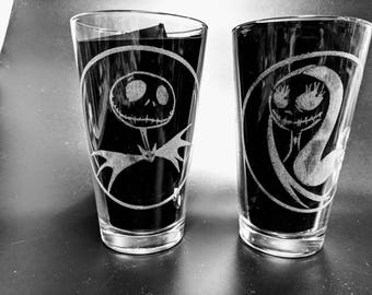 Etched Jack and Sally Glasses