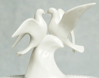 Porcelain Doves Wedding Cake Topper Figurine - 70117