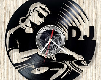 DJ vinyl record wall clock unique home decor and wonderful gift idea