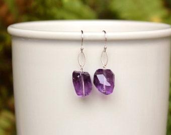 SALE! Amethyst Earrings, February Birthstone, Deep Purple Gemstone Earrings, Sterling Silver, Lightweight, Simple, Minimalist Earrings