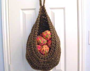 Brown Hanging Crochet Basket - Modern Wall or Door Storage Basket - Nursery Decor - Minimalist Decor - Doorknob Basket