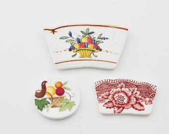 Broken China Mosaic Tiles - Focal Pieces -Recycled Plates - Fruit Basket - Red Transfer Ware Flower - Set of 3