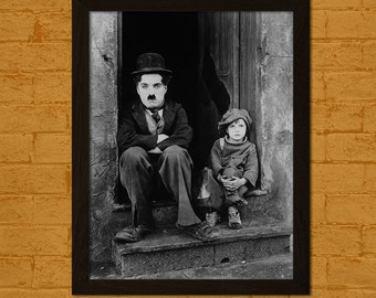 Charlie Chaplin Poster The Kid 1921 - Retro Movie Poster Home Decorating Poster Old Movie Print Chaplin Print  t