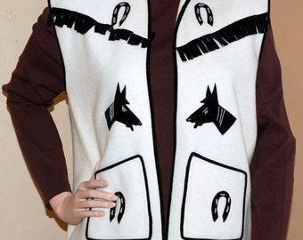 Vintage Felt Vest with Western Applique