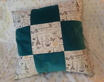 Quilted Paris and Soft Teal Throw Pillow