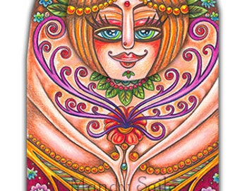 """Lovely Lalita Goopta-Kooh - a whimsical super sweet 8 x 10"""" ART PRINT of an Indian inspired Nature Goddess with an incredible dress & swans"""