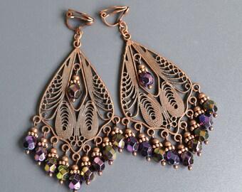 Сhandelier bohemian boho earrings, clip on dangle earrings, cooper earrings, beaded earrings, no pierced earrings, gift for girlfriend