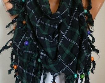 Green Plaid Cotton Scarf mother's day Gift Spring summer Fashion Tartan Tassel Scarf Shawl Cowl gift Ideas For Her Women Fashion Accessories