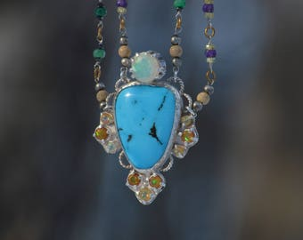 Handmade Turquoise and Opal Necklace with Multi gem double chain