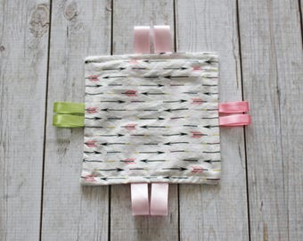 Pink Arrow Sensory Toy; Organic Cotton Crinkle Toy