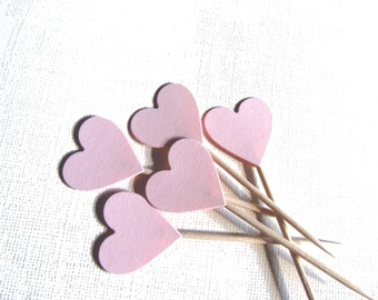 Valentine's Day Decor, 24 Pink Heart Cupcake Toppers, Food Picks, Party Decor, Weddings, Showers, Love, Baby, Girl