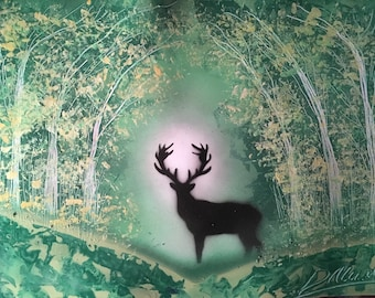 Stag Forest Spray Paint Art