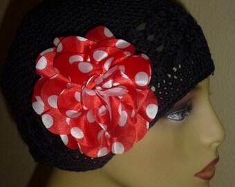 Chemo Black Crochet Hat with Large Red and WhiteSatin Polka Dot Flower