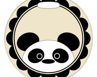 Personalized Luggage Tag / Carry On Bag Tag / Round FRP Plastic Tag / Panda Framed  / 2 Sizes Available