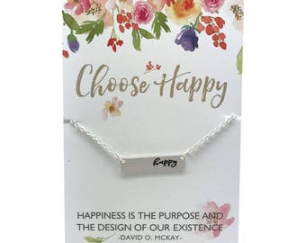 "Choose Happy, silver or Gold Bar Necklace, bar charm with stamped heart, carded ""Choose Happy"" or in a gift box, gift for her"