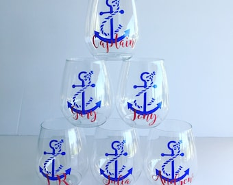 Personalized Nautical Anchor Stemless PLASTIC Wine Tumbler - Bachelorette - Boating - Tossware - Personalized Stemless Wine - Party cup Boat