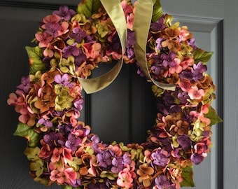 Beautiful Wreaths | Blended Hydrangea Wreath | Spring Wreaths | Front Door Wreaths | Mothers Day Wreath | Housewarming Gift | Door Decor