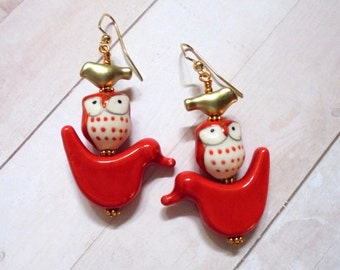 Red and Gold Bird and Owl Earrings (3870)
