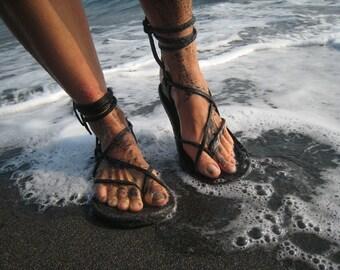 Unisex Maori Sandal / Chocolate Brown Handmade Leather Adjustable Women Men Lace Up Sandals Flats Renaissance Minimalist  Light Durable