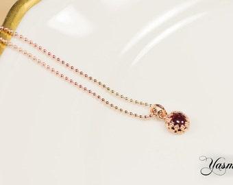 Garnet rose gold plated