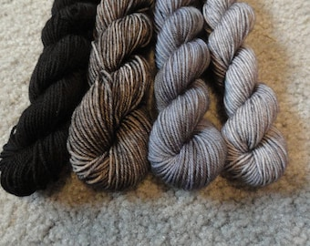 The Witching Hour.  Hand Dyed Mini Skeins
