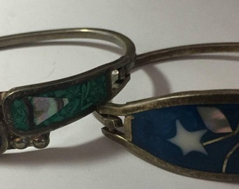 Mexican silver turquoise mother of pearl bracelets