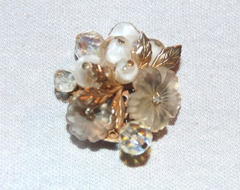 Camphor Glass Brooch, Rhinestone Beads, Vintage old  jewelry