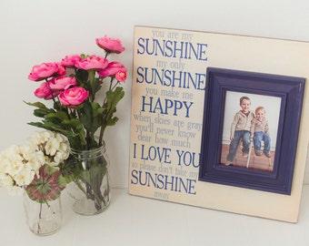 Personalized Baby Frame, You are my sunshine Sign, Nursery Sign, Baby Gift, Personalized Frame, Baby Frame, Baby boy nursery