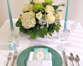 Mint/Blue Taper Candle