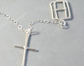 Initial Necklace Sideways Cross Necklace with Initial Personalized Customized Jewelry Confirmation Gift For Daughter Religious Necklace