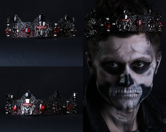 Black Crown, Gothic Crown, Zombie Boy, Ledy Gaga costume Headpiece, Mens crown, male crown, zombie costume