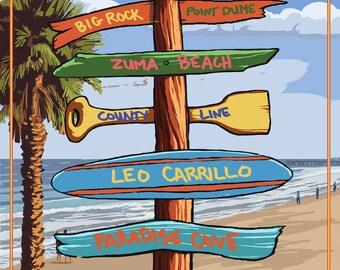 Malibu, California - Destination Signpost (Art Prints available in multiple sizes)