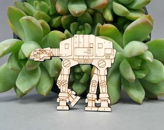 Star Wars ATAT Magnet - Laser Engraved Maple Wood - Fridge Magnet AT-AT