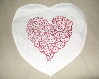 Heart hand embroidered small cushion cover