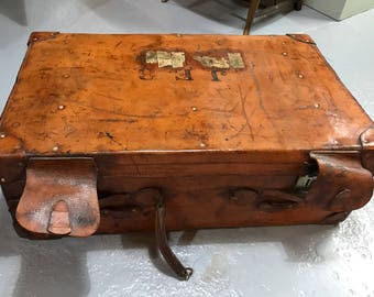 Wartime Vintage leather suitcase, antique leather suitcase, initialled J.E.B., complete with provenance of ownsership c1900s