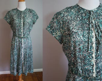 1950's Sheer Teal Floral Dress // Small
