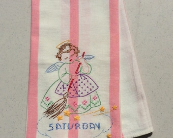 Vintage Embroidered Towel Angel Does Her Spring Cleaning on Saturday Day of the Week DOW Retro Kitchen